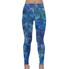 Blue Squares Tiles Yoga Leggings by KirstenStarFashion