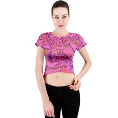 Bright Pink Confetti Storm Crew Neck Crop Top by KirstenStarFashion