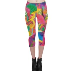 Colorful Floral Abstract Painting Capri Leggings  by KirstenStarFashion