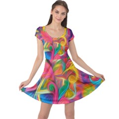 Colorful Floral Abstract Painting Cap Sleeve Dress by KirstenStarFashion