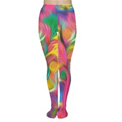 Colorful Floral Abstract Painting Tights by KirstenStarFashion