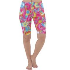 Hippy Peace Swirls Cropped Leggings  by KirstenStarFashion