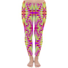 Pink And Yellow Rave Pattern Winter Leggings by KirstenStarFashion