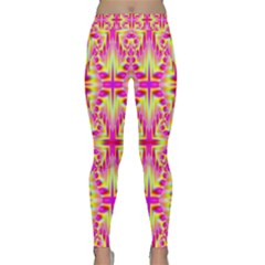 Pink And Yellow Rave Pattern Yoga Leggings by KirstenStarFashion