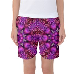 Pink Fractal Kaleidoscope  Women s Basketball Shorts by KirstenStarFashion