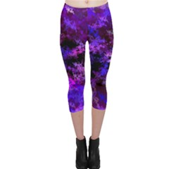 Purple Skulls Goth Storm Capri Leggings  by KirstenStarFashion