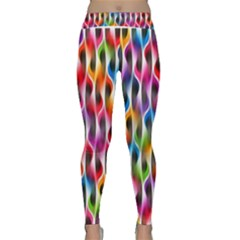 Rainbow Psychedelic Waves  Yoga Leggings by KirstenStarFashion
