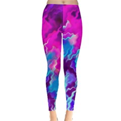 Stormy Pink Purple Teal Artwork Women s Leggings by KirstenStarFashion