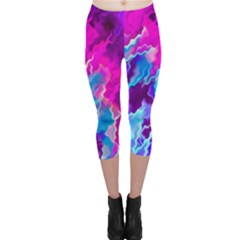 Stormy Pink Purple Teal Artwork Capri Leggings by KirstenStarFashion