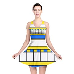 Stripes And Squares Reversible Skater Dress by LalyLauraFLM