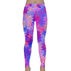 Pink And Purple Marble Waves Yoga Leggings by KirstenStarFashion