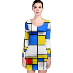 Colorful Rectangles Long Sleeve Bodycon Dress by LalyLauraFLM