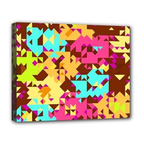 Shapes In Retro Colors Deluxe Canvas 20  X 16  (stretched) by LalyLauraFLM