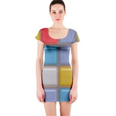 Shiny Squares Pattern Short Sleeve Bodycon Dress by LalyLauraFLM