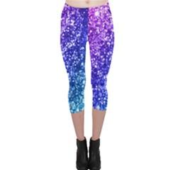 Glitter Ocean Bokeh Capri Leggings by KirstenStarFashion