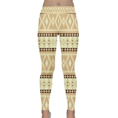 Fancy Tribal Border Pattern Beige Yoga Leggings by ImpressiveMoments