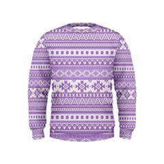 Fancy Tribal Borders Lilac Boys  Sweatshirts by ImpressiveMoments
