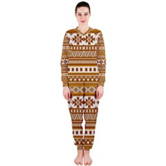 Fancy Tribal Borders Golden Onepiece Jumpsuit (ladies)  by ImpressiveMoments
