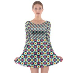 Cute Abstract Pattern Background Long Sleeve Skater Dress by creativemom
