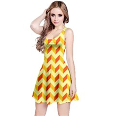 Modern Retro Chevron Patchwork Pattern  Reversible Sleeveless Dresses by creativemom