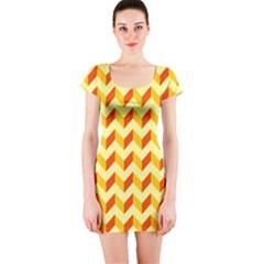 Modern Retro Chevron Patchwork Pattern  Short Sleeve Bodycon Dresses by creativemom