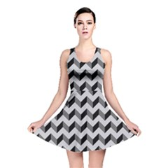 Modern Retro Chevron Patchwork Pattern  Reversible Skater Dresses by creativemom