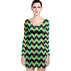Modern Retro Chevron Patchwork Pattern Long Sleeve Bodycon Dresses by creativemom