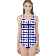 Blue And White Leaf Pattern Women s One Piece Swimsuits by creativemom