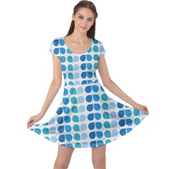 Blue Green Leaf Pattern Cap Sleeve Dresses by creativemom