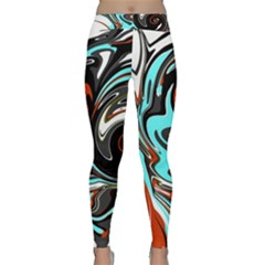 Abstract In Aqua, Orange, And Black Yoga Leggings by digitaldivadesigns