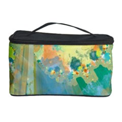 Abstract Flower Design In Turquoise And Yellows Cosmetic Storage Cases by theunrulyartist