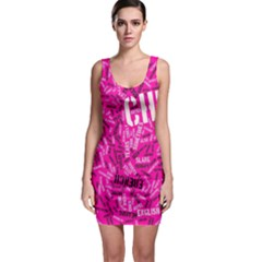 Hot Pink Chic Typography  Bodycon Dresses by OCDesignss