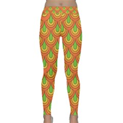 70s Green Orange Pattern Yoga Leggings by ImpressiveMoments