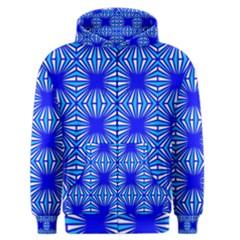 Retro Blue Pattern Men s Zipper Hoodies by ImpressiveMoments