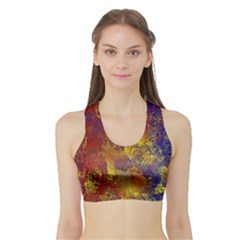 Abstract In Gold, Blue, And Red Women s Sports Bra With Border by digitaldivadesigns