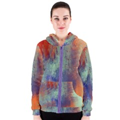 Abstract In Green, Orange, And Blue Women s Zipper Hoodies by digitaldivadesigns