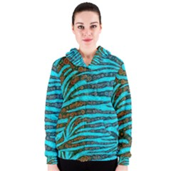 Turquoise Blue Zebra Abstract  Women s Zipper Hoodies by OCDesignss