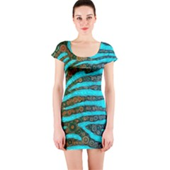 Turquoise Blue Zebra Abstract  Short Sleeve Bodycon Dresses by OCDesignss