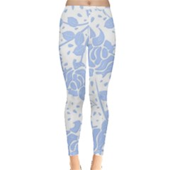 Floral Wallpaper Blue Women s Leggings by ImpressiveMoments