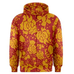 Floral Wallpaper Hot Red Men s Zipper Hoodies by ImpressiveMoments