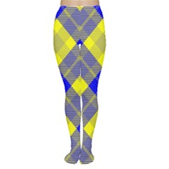 Smart Plaid Blue Yellow Women s Tights by ImpressiveMoments