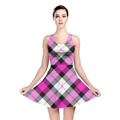 Smart Plaid Hot Pink Reversible Skater Dresses by ImpressiveMoments