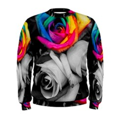 Blach,white Splash Roses Men s Sweatshirts by MoreColorsinLife