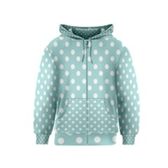 Blue And White Polka Dots Kids Zipper Hoodies by creativemom