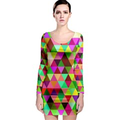 Geo Fun 07 Long Sleeve Bodycon Dresses by MoreColorsinLife