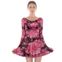 Awesome Flowers Red Long Sleeve Skater Dress by MoreColorsinLife