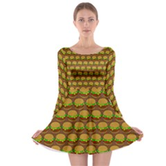 Burger Snadwich Food Tile Pattern Long Sleeve Skater Dress by creativemom