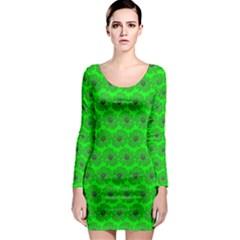 Gerbera Daisy Vector Tile Pattern Long Sleeve Bodycon Dresses