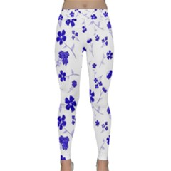 Sweet Shiny Flora Blue Yoga Leggings by ImpressiveMoments