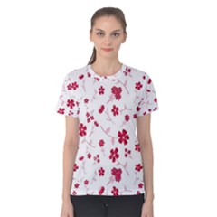 Sweet Shiny Floral Red Women s Cotton Tees by ImpressiveMoments